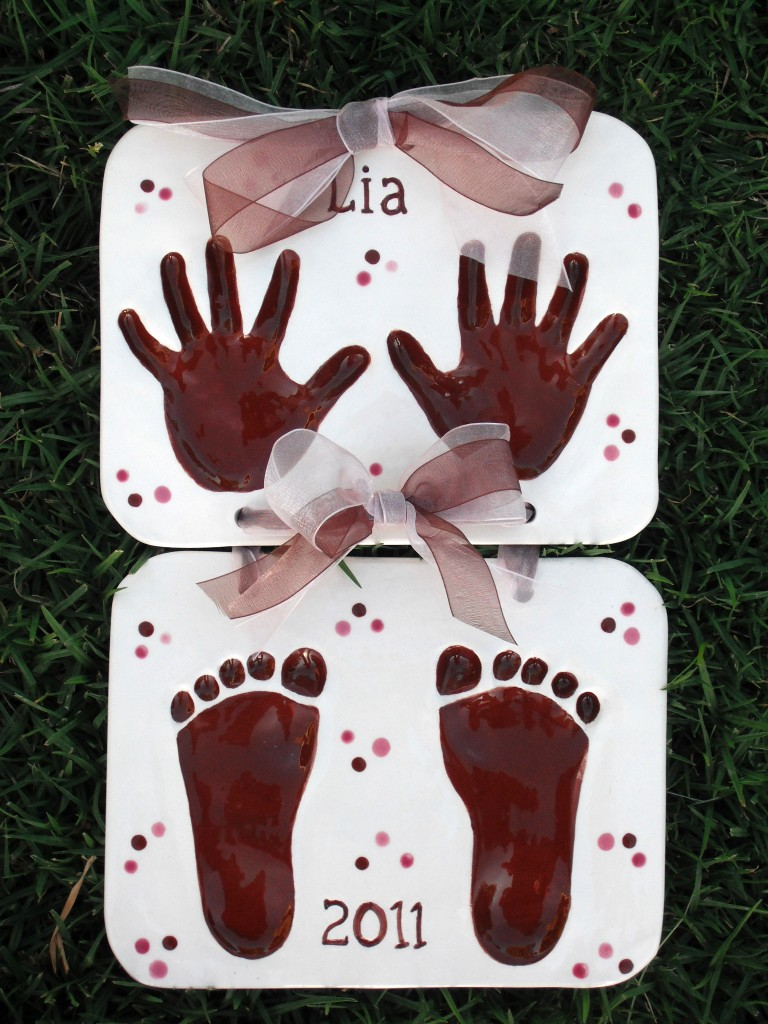 Children 39 s hand print and foot print keepsake clay for Hand and foot crafts