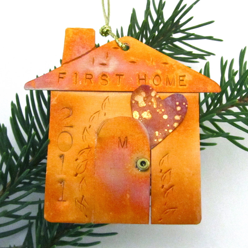 Happy Handmade Patinated Copper Ornaments